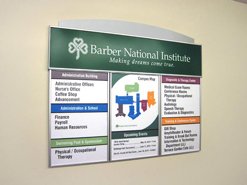 barber sign signage directory for hid accent aluminum routed res interior signs low with products building