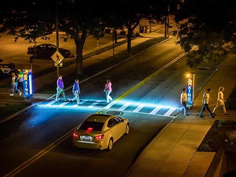 LED-Illuminated Pedestrian Crossing Signage