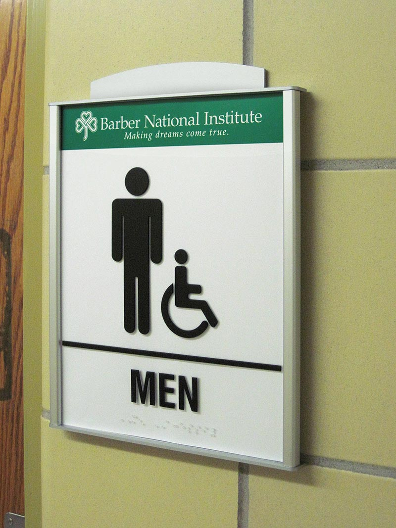 HID ADA Compliant Restroom Identifcation Sign with Custom Aluminum Accent