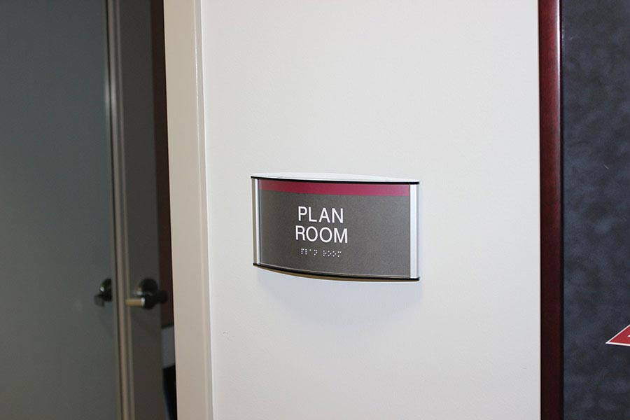 Room identification signage ada compliant howard industries - Ada interior signage requirements ...