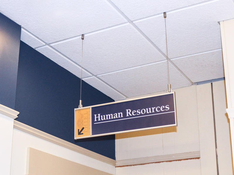 Ceiling Suspension Sign Mount For Interior Signage System
