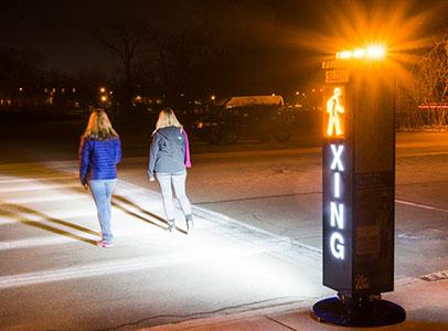 led illuminated pedestrian crossing signage