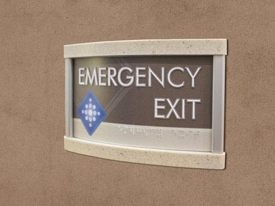 HID ADA Compliant Exit Sign with Marbled Acrylic Caps
