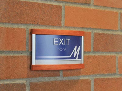 HID ADA Compliant Exit Sign with Wood Caps