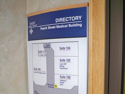 HID Building Directory Sign with Wood End Caps