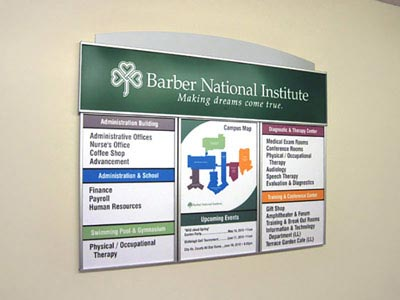 HID Building Directory Sign with Routed Aluminum Accent