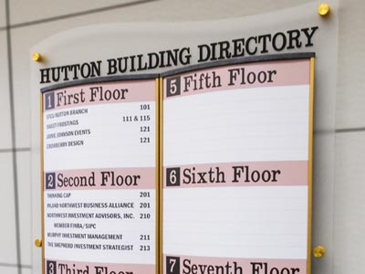 HID Directory Sign with Gold Anodized Aluminum Frame, Brass Standoffs and Laser Etched Acrylic Backer