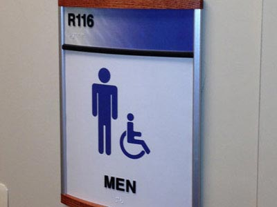 HID ADA Compliant Restroom Identifcation Sign with Wood Caps